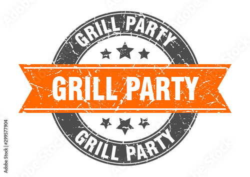Photo grill party round stamp with orange ribbon. grill party