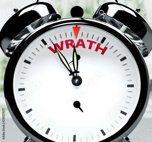 Canvas Print Wrath soon, almost there, in short time - a clock symbolizes a reminder that Wra