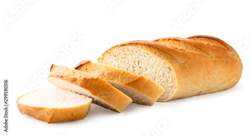 Tuinposter Brood Loaf of white bread cut into pieces close-up. Isolated