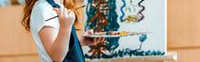 Panoramic Shot Of Kid Painting...