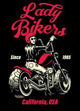 Lady Biker Chopper Motorcycle T-shirt Design