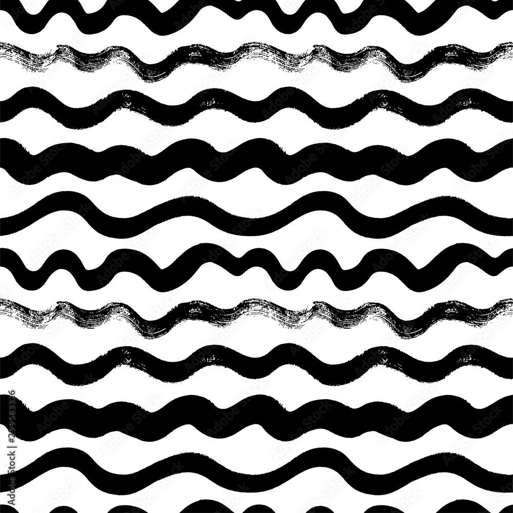 Fototapety, obrazy: Wavy hand drawn seamless pattern. Dry paint waves doodle drawing. Irregular shapes line art.