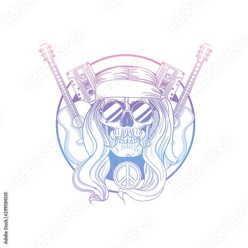 Fotografie, Obraz Hand drawn sketch hippie skull