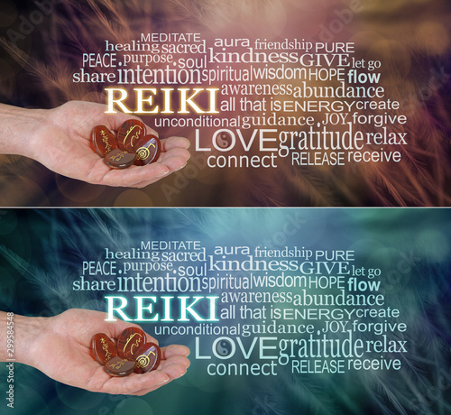 2 x Male Reiki Practitioner Word Cloud - Male hand offering four Reiki Symbol carved stones against an ethereal dark feather background surrounded by a word cloud on jade green and rich brown
