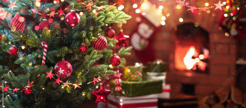Fototapety, obrazy: Christmas Tree with Red Balls and Stars
