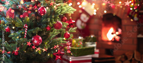 Christmas Tree with Red Balls and Stars - 299584752