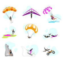 Extreme Sport Flat Vector Illustrations Set. Couple Paragliding, Skydiving. Parachuting, Hang Gliding, Skiing. Rock Climbing. Motorcycle Stunts. Sports People Isolated Cartoon Characters
