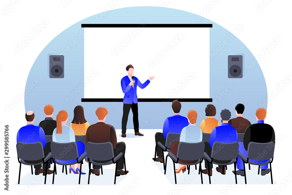 People at the seminar, presentation, conference. Vector illustration. Business training, coaching and education concept - obrazy, fototapety, plakaty