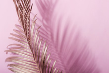 Painted Golden Tropical Leaves On Pink Pastel Background. Natural Creative Layout