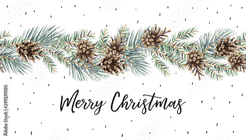 Fototapeta Xmas garland with text Merry Christmas, white background. Green pine, fir twigs, cones. Vector illustration. Nature design. Greeting card, poster template. Winter holidays. Seamless border obraz