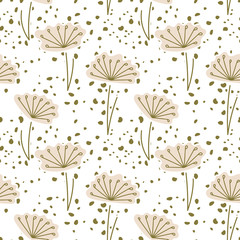 Panel Szklany Dmuchawce Vector two-color seamless pattern. Delicate stylized flowers and seeds scattered all over the background.