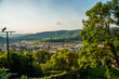 Sighisoara, Romania: Beautiful panoramic view of the city from above.
