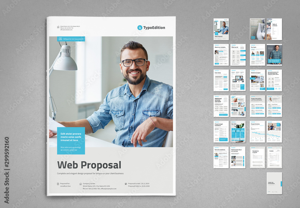 Fototapety, obrazy: White and Light Gray Proposal Layout with Pale Cyan Elements