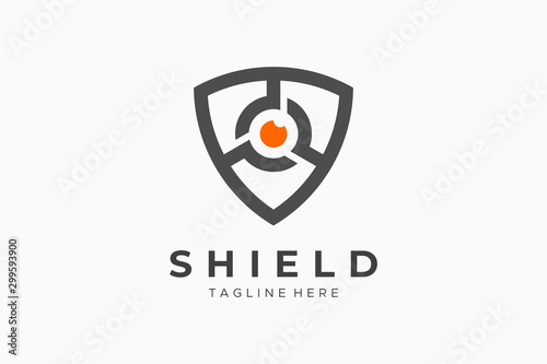 Canvastavla Shield With Eye Security Logo Protection Symbol Secure Icon Flat Vector Logo Des