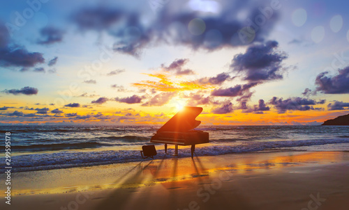 music-background-melody-and-song-concept-in-nature-surreal-image-of-grand-piano-in-scenic-sunset-beach