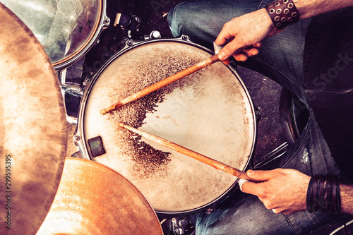 Playing drum and concert concept.Live music background.Music festival.Instrument on stage and band