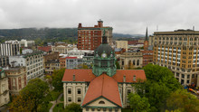 Aerial View Cloudy Overcast Day Downtown Urban Core Binghamton New York