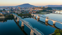 Dawn Light Hits Lookout Mountain With Smooth Water Flowing In Chatanooga Tennessee