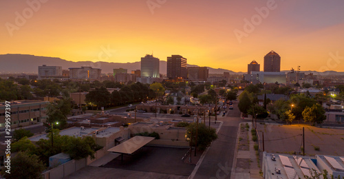 Orange Sunrise Aerial Perspective Downtown City Skyline Albuquerque New Mexico Wallpaper Mural