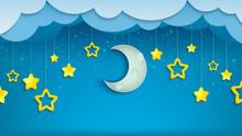 Night Sky With Half Of Moon An...