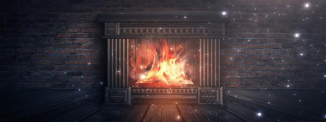 Темная комната с кирпичными стенами. Деревянный камин, горит огонь. Ночной вид на помещение. Магическая атмосфера вечера. 3Д иллюстрация.