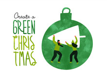 Green Christmas Eco Card Of Pe...