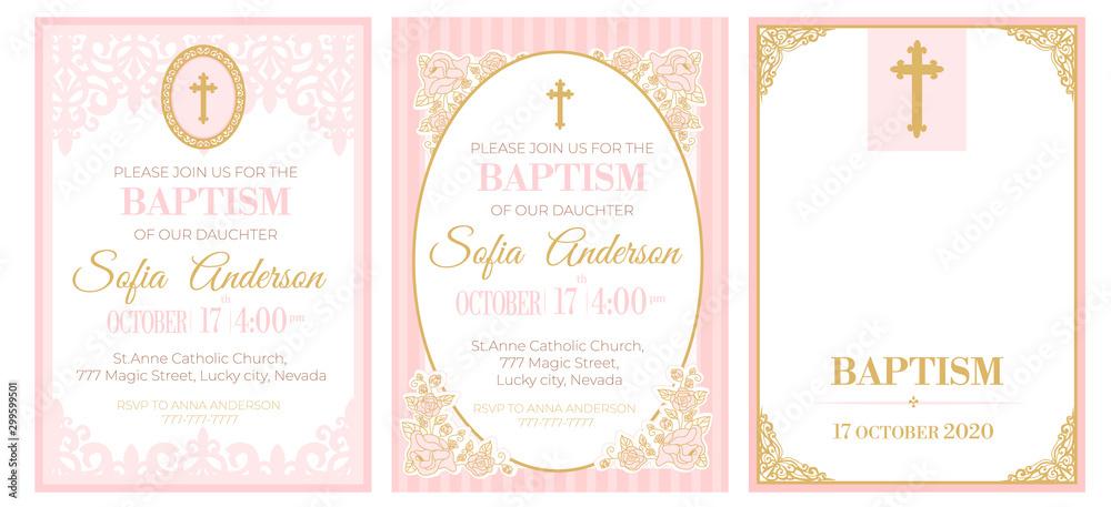 Obraz A Set Of Cute Pink Templates For Baptism Invitations