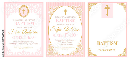 Fotografía A set of cute pink templates for Baptism invitations