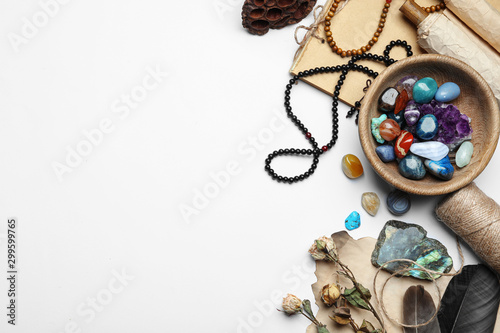Fotografía Composition with different gemstones on white background, top view
