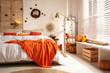 Leinwanddruck Bild - Cozy bedroom interior inspired by autumn colors