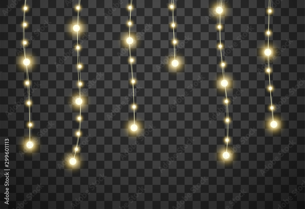 Fototapety, obrazy: Christmas lights isolated on transparent background, vector illustration