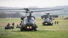 Chinook Helicopters Are Loaded During A Military Exercise On Salisbury Plain