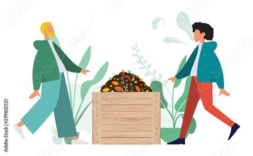 Compostage, Homme et Femme faisant du compost Canvas Print