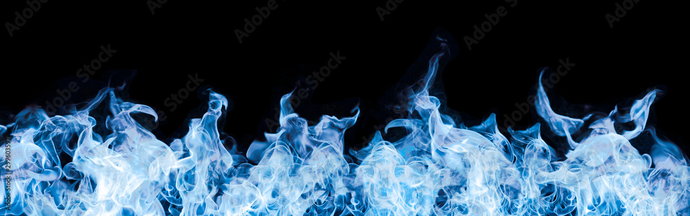 Fototapeta blue flames on black