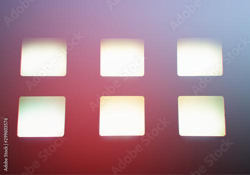 Valokuva Six empty monitors with chromatic aberration borders background