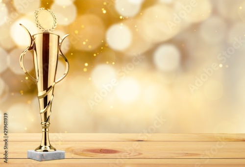 Tela  Golden trophies object on background