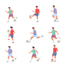 Set Of Football Or Soccer Player Characters In Different Actions. Vector Illustration In Flat Cartoon Style.