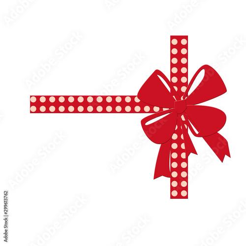 Fiocco rosso decorativo con nastro, isolato su sfondo bianco Obraz na płótnie