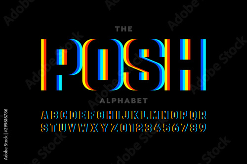 Fototapeta Modern font design, vibrant alphabet, letters and numbers obraz