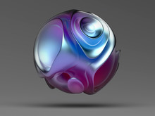 A Neon Disco 3d Render Of An Irregular Round Shape Purple, Glossy, Soft, Smooth Textured Round Shape Bright Colored Sphere On Gray Background