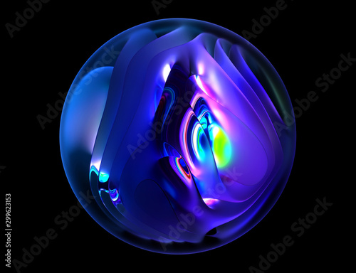 Fotografija  Blue neon 3d render of a round shape dark magical holiday Christmas sphere with