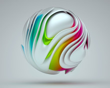 3d Render Of A Smooth And Glossy Textured Round Shape Organic 3d Ball.. Bright Colors Layered 3d Design, Glossy Colorful Plastic Material, Rainbow Colored Gravity Sphere On A Gray Background