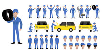 Car Repair And Service. Mechanic Repairs And Diagnostics Car  Of Auto Service. Auto Mechanic Cartoon Character Set And Animation. Front, Side, Back, 3-4 View Character. Flat Vector Illustration
