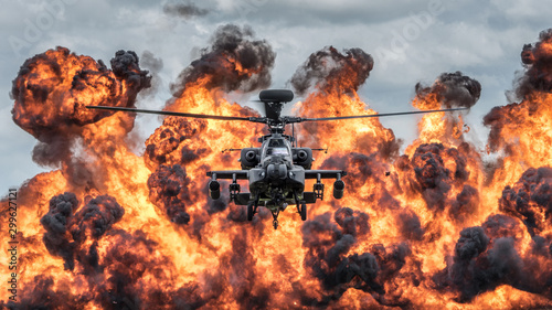Attack helicopter explosive demonstration Wallpaper Mural