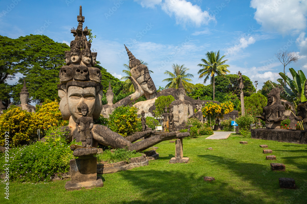 Fototapety, obrazy: Buddha park Xieng Khouane in Vientiane, Laos. Famous travel tourist landmark of Buddhist stone statues and religious figures.
