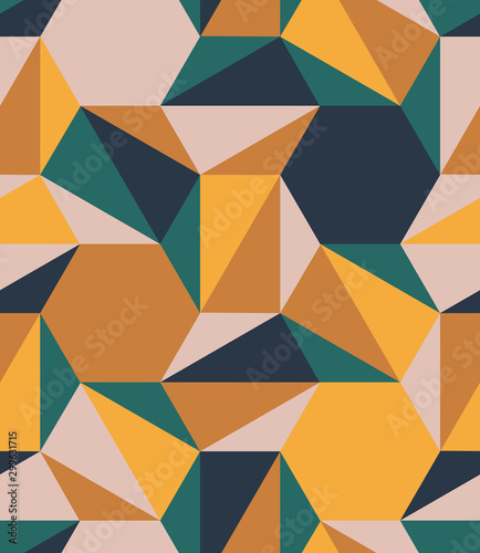 Colorful polygons shapes tile mosaic multi-colored blocks, seamless repeat vector pattern Canvas Print