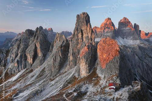 Canvas Prints Blue sky Autumn alpine landscape in Cadini di Misurina, Dolomites, Italy, Europe