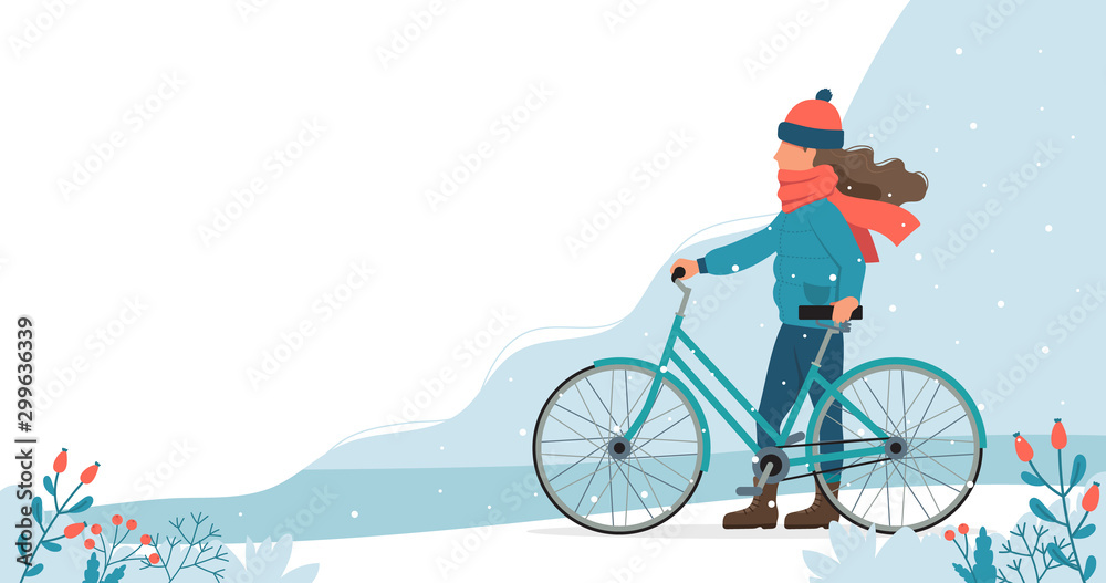 Fototapety, obrazy: Girl with bike in the park in winter. Cute vector illustration in flat style.