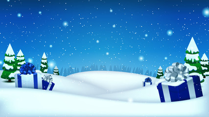 Holiday Christmas and New Year template for your arts and copy space. Winter background with gifs, snow and spruce trees