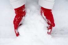 Girl's Hands In Red Gloves Mak...